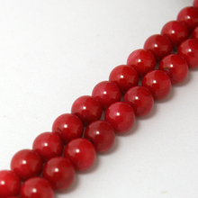 Hot Sale 7mm Coral Beads Round Natural Coran Stone Beads Dyed Red 38-40cm/strand(15'') For DIY Bead Bracelet Fashion Necklace(China)