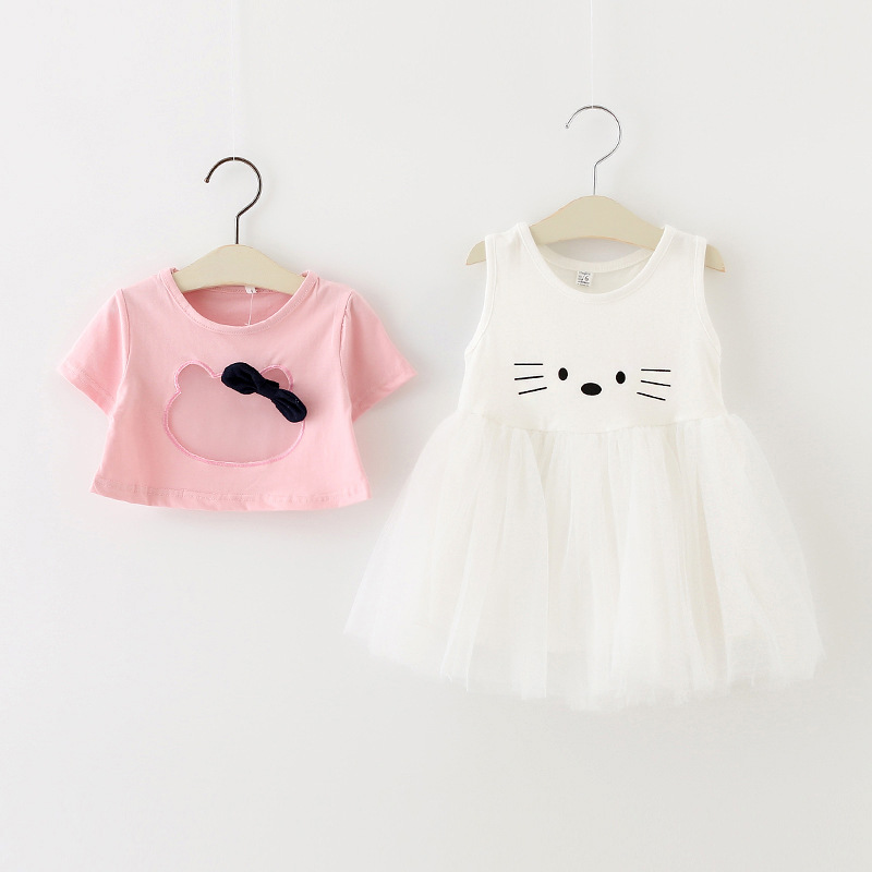 Childrens cartoon kitty baby girls t shirt + dress set ball gown vest dress casual fashion clothing for girls baby clothes<br><br>Aliexpress