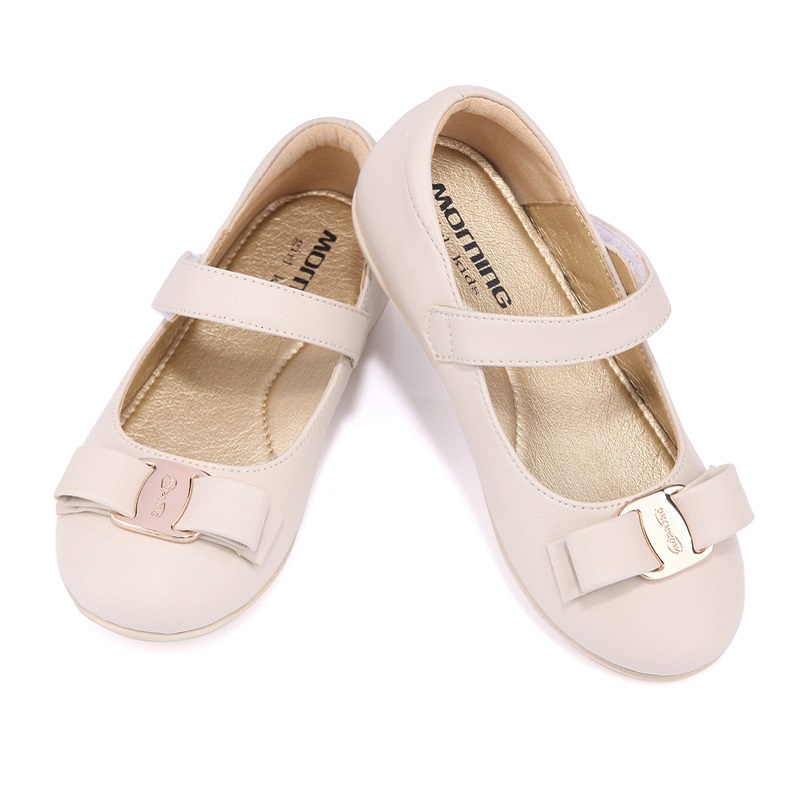 Girls shoes spring and autumn apricot smooth leather childrens shoes butterfly-knot show kids shoes<br>