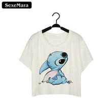 Buy SexeMara New Design Stitch Cartoon Printed White Crop Top Harajuku Short Sleeve Cute Girls Fashion Sexy T shirts Women Tops F944 for $3.36 in AliExpress store