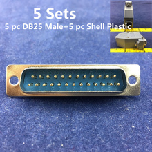 Free shipping 5 Sets D-SUB RS232 DB25 Male Serial Port Connector+ Shell Plastic 25 Pin Socket Adapter(China)