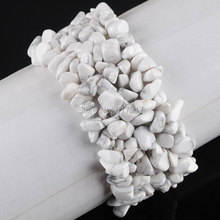 Free Shipping Fashion Jewelry Natural White Turquoise Gem Stone 4-8mm Chips Beads Weave Bangles Stretch Bracelet 7 inches TH299