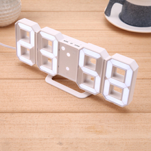 12/24 hours display Clock  Modern Digital LED Table Clock Watches White 3 Modes Desk Aclock  Snooze Alarm Clock USB Rechargeable