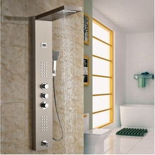 Uythner Wholesale And Retail Promotion Thermostatic Waterfall Rain Shower Panel Shower Column Jets Tub Spout Shower Tap