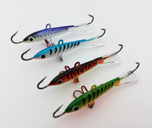 4pcs/lot Winter Ice Fishing Bait Fishing Jig Head Hard Lure 83mm 18g Jigging Rap Wobbler Lure With Treble Hook