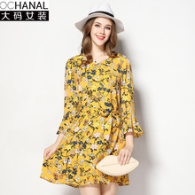 Large size women print dresses 2017 new v neck lotus leaf sleeves oversized spring loose dress factory direct sales wholesale
