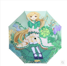 2017 Real Non-automatic Umbrella L Folding Umbrella Rain New Spring Girl Comic Personality Umbrella Cloth Was Seamless Brand(China)