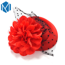 Ladies Flower Top Hat Hair Clip Party Cocktail Hat With Rose Dot Veiling Headwear Elegant French Lace Fascinator Cap Hairpins(China)