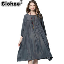 Clobee 4XL Classic Women Dress Luxury Silk Dress 2017 Summer Black Gray Ruffles Loose Plus Size Women Dresses vestidos de festa