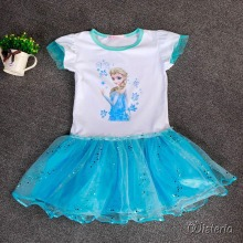 Hot Sell Customs Princess Baby Girl Cartoon Elsa&Anna Dress Suit Girl's Cloth Cute Fashion Children Party Birthday Gift Dresses(China)