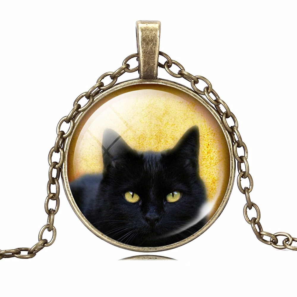 UNIQUE NECKLACE GLASS CABOCHON-SILVER BRONZE CHAIN NECKLACE BLACK CAT PICTURE VINTAGE PENDANT NECKLACE-Cat Jewelry-Free Shipping UNIQUE NECKLACE GLASS CABOCHON-SILVER BRONZE CHAIN NECKLACE BLACK CAT PICTURE VINTAGE PENDANT NECKLACE-Cat Jewelry-Free Shipping HTB1ZjC8MpXXXXadXpXXq6xXFXXXN