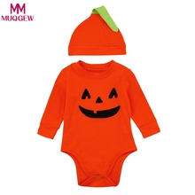 2018 New Infant Baby Boys Girls outfits Halloween Pumpkin Romper Jumpsuit+Hat 2Pcs Clothes orange baby clothing for newborns(China)