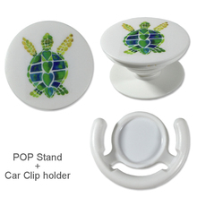 Turtle Pattern POP Phone Holder Socket with Car Clip, Expanding Stand Popmount Socket Kickstand for iPhone 5,6,7,6plus,7plus,8X(China)