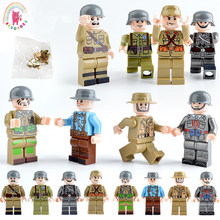 8pcs Military WW2 USA Soviet Chinese German Japanese GB Italian French Army Doll Building Blocks Brick Kids figures toy(China)
