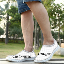 FORUDESIGNS Custom Images or Logo Men Summer Casual Air Mesh Shoes Breathable Male Light Weight Comfort Slip-on Flat Shoes