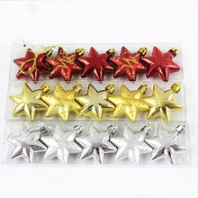 15 Pcs/Set Exquisite Glitter Christmas Stars Baubles Xmas Tree Hanging Ornament Market School Christmas Decoration Supplies