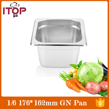 6pcs/carton 1/6 GN Pan Gastronorm Stainless Steel Buffet Cafeteria Plate Chafing Dish Commercial Tureens for Ice Cream Showcase(China)