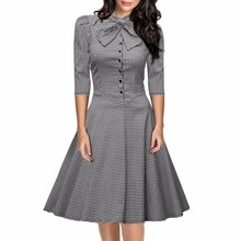 Buy Womens Elegant Fashion Plaid Bow Tunic Pinup Club One Piece Dress Suit Wear Work Office Casual Party Line Skater Dress for $19.46 in AliExpress store