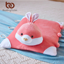 BeddingOutlet Red Cartoon Rabbit Pillow Cute Thailand Natural Latex Cushion Super Soft Crystal Velvet Fabric Neck Health 37x60cm