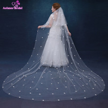 High Quality 2.5 Meters Long Appliques Wedding Veils White/Ivory 3D Flowers Bridal Veil Wedding Accessories(China)