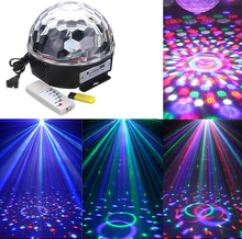 Mini LED DJ Laser Projector Glass Ball Stage Effect RGB Spot Light Music MP3 Club Disco Party laser diode With USB Disk+Remote(China)
