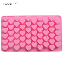 55 Hole Heart Shape Love Candy Silicone Decorating Mold Ice Cube Tray Silicone Chocolate Sugar Paste Tool Candy Baking Pan 51039(China)