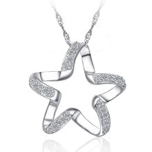 JEXXI 2017 New Arrival 925 Sterling Silver Chic Pendant Necklace Girls Wedding Accessories Women Funny Lucky Star Shape Jewelry(China)