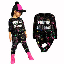 new fashion girls tracksuit baby kids sport clothes set coloful letter printed children suit clothing set for 2-7years old(China)