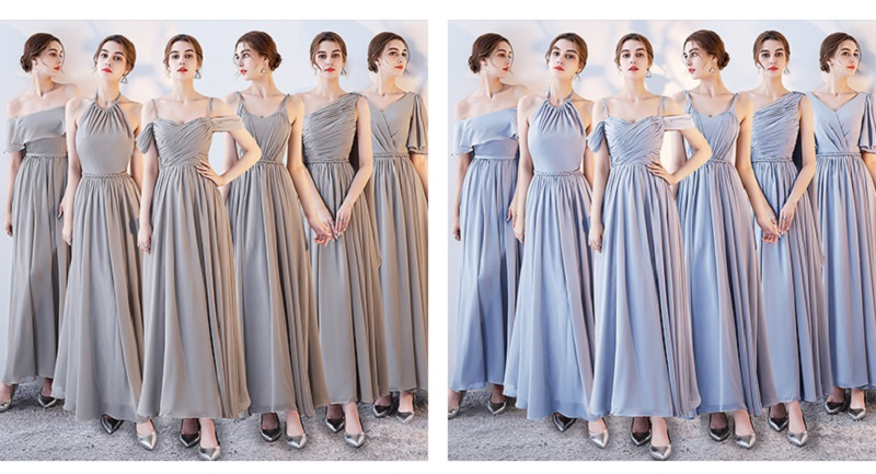 SOCCI Weekend Long Bridesmaid Dresses 2017 Sliver Sleeveless Sister Dress Grey Off shoulder Formal Wedding Party Gowns Robe de 3