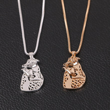 shunyun 30PCS/LOT Cute Puppy 2 Dogs Memorial Gift Lovely Animal Hollow Pendants Necklaces For Women Jewelry Pet Lovers Gift(China)