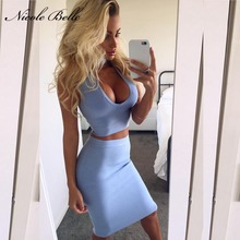 2017 new Women sexy dress Bodycon Deep V-neck  2 Two-pieces Set Bandage Dresses Celebrity Fashion Dress Club Wear Wholesale