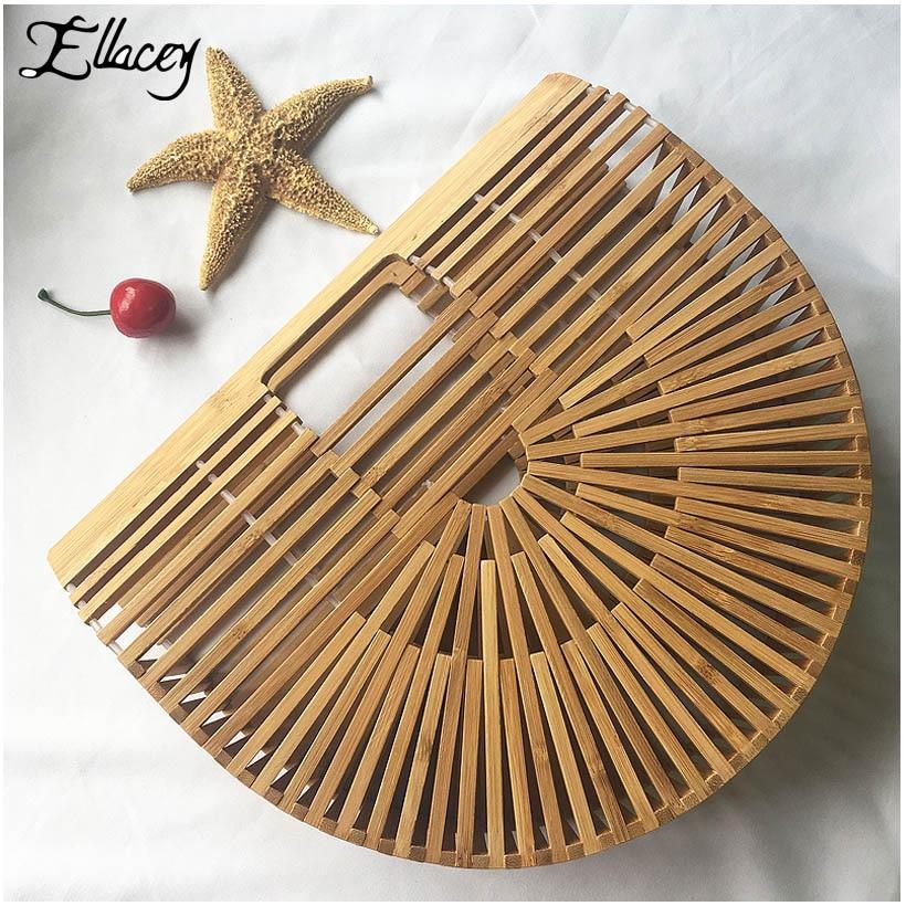 New 2018 Summer Half Round Handmade Bamboo Beach Bag Environmental Circular Basket Bamboo Bags Rural Countryside Vacation Totes<br>