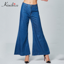 Kinikiss Women Wide Leg Jeans Pants Loose Blue Elegant Long Jeans Bottom Ladies Winter High-Waist Casual Wide Leg Pants Denim(China)