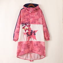 Casaul Loose Women Hooded Printed Star Letter Trend Design Long Pink Jacket Camouflage Coat 2017 Hot High Quality