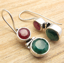 FACETTED Red Rubys 2 Gem WOMEN'S CHRISTMAS Earrings !  Silver Plated NEW 3.3 cm