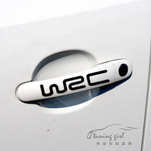 Car Stickers WRC rally sports Creative Decals For Door Handle Waterproof Auto Tuning Styling 13.2cm*2.5cm  4 PCS/SET D10