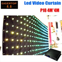 High Quality P18 4M*4M Tricolor RGB durable affordable high brightness led video curtain colorful led decoration backdrops wall