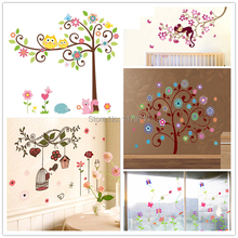 Trees flowers wall sticker child  role of children's diy adhesive art mural poster picture removable wallpaper baby room
