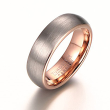 New designs double color tungsten fashion Drawing rings rose gold color tungsten ring 6mm width Men's Women Wedding Ring(China)
