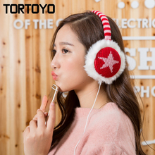 Cute Lovely Star Colorful Winter Plush Warm Earmuff Headphones Wired PC Earphone Computer Phone Headset with Mic Lady Baby Gift