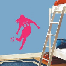 Custom made female Football Soccer Ball Vinyl Wall Decals Personalized Name & Number Poster Art Kids Girls Rooms Decoration(China)