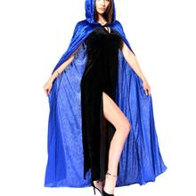 Fashion Design Medieval Bright Dress Costume Witch Cosplay Cloak Clothing Halloween Hooded Blue Cloak Cape