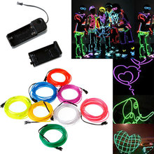 8 Colors Choose EL Wire Neon Lighting Lamp 1/2/3/4/5M Flexible Battery Remote Led Ribbon Flash Dancing Chasing Led Strip Light(China)