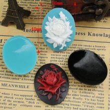 free shipping 9pcs 81-123 30x40mm rose flat back Resin Cab Cabochon for craft  cameo setting jewelry/cell phone diy accessory