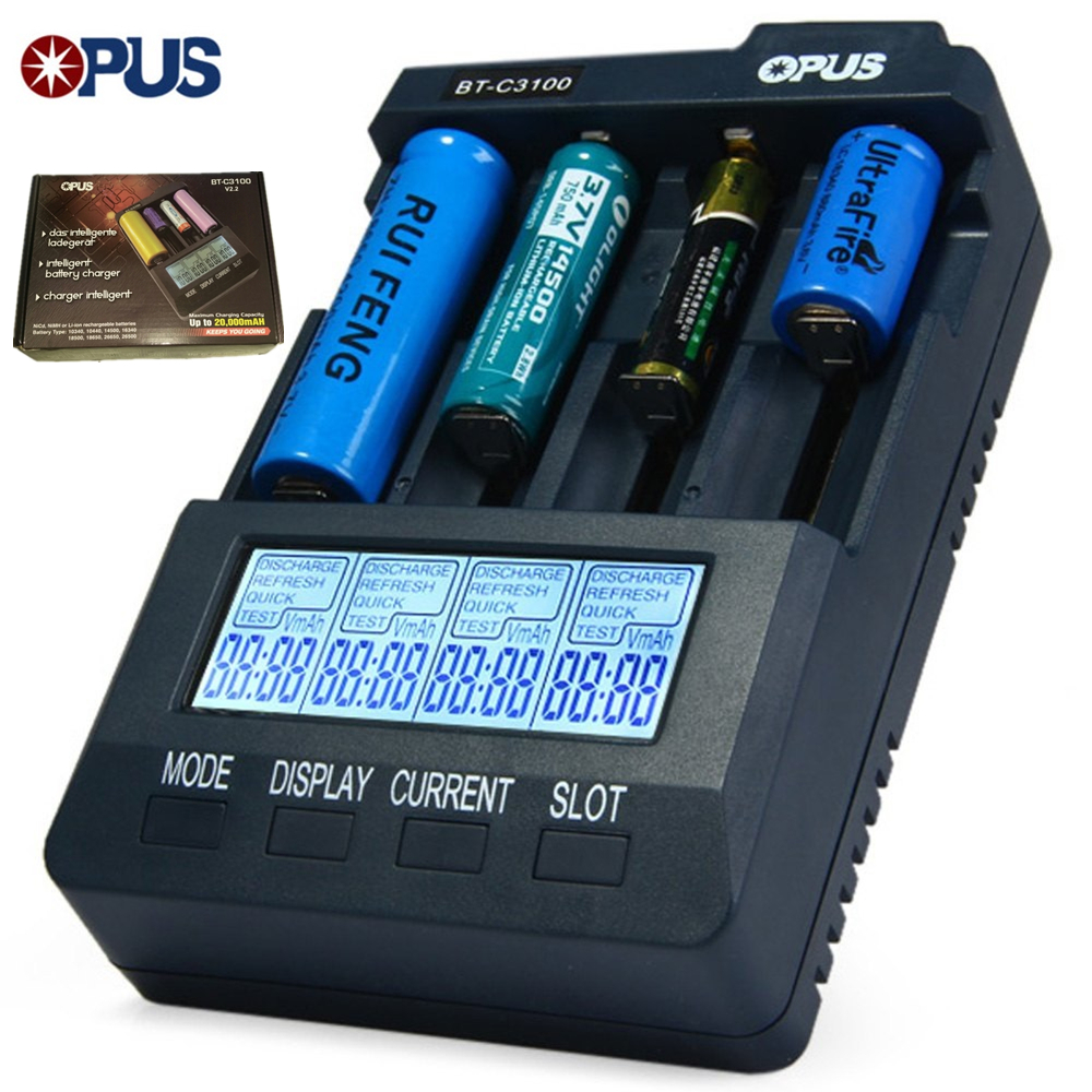 Opus BT-C3100 V2.2 Smart Digital Intelligent 4 Slot Battery Charger Lithium Li-ion NiCd NiMh AA AAA 10440 18650 Charger Battery