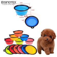 Pet Dog Portable Folding Bowl With Black Border 1 PCS Bowls Feeders For Small Dog Pets Cat Food Drinking Bowls(China)