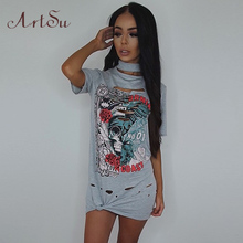 Buy ArtSu Harajuku Printed Sexy Dress Short Sleeve Summer Dress 2017 Vestidos Mujer Casual Plus Size Women Clothing Black ASDR50092 for $12.86 in AliExpress store