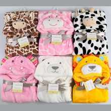 2017 New Fashion Cartoon Animal Style Baby Hooded Bathrobe Flannel High Quality Kids Bath Robe Infant Towel