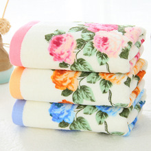 2pcs/set 34*74cm Soft Pink Blue Cotton Face Flower Towel Floral Terry Towels Peony Face Washcloth 2017 new fashion Drop Shipping