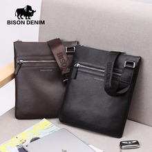 BISON DENIM Brand 100% top cowhide genuine leather Male Crossbody Bag slim shoulder bag Business Travel Ipad Bag 2424&2442